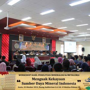 Workshop Hasil Penelitian Mineralogi & Metalurgi